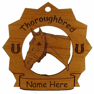 8317 Thoroughbred Head  2 Horse Ornament Personalized with Your Horse's Name