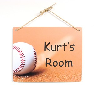 8x10 Baseball on Dirt Design Personalized Wall or Door Sign