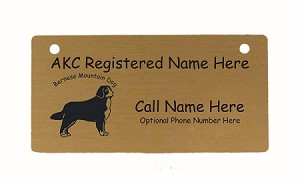 C1727 Bernese Mountain Dog Standing 2 Crate Tag Personalized With Your Dog's Name