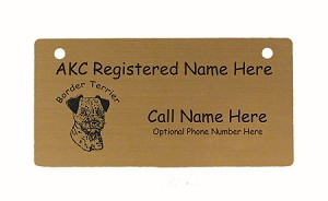 C1909 Border Terrier Head Crate Tag Personalized With Your Dog's Name