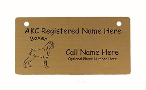 C1950 Boxer Uncropped Standing Crate Tag Personalized With Your Dog's Name