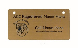 C3131 English Bulldog Head Crate Tag Personalized With Your Dog's Name