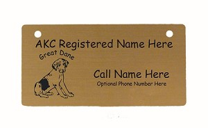 C3292 Great Dane Puppy Uncropped Sitting Crate Tag Personalized With Your Dog's Name