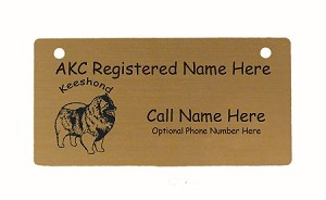 C3435 Keeshond Standing Crate Tag Personalized With Your Dog's Name