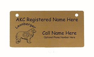 C3496 Leonberger Standing Crate Tag Personalized With Your Dog's Name