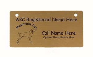 C3577 Mountain Cur Standing Crate Tag Personalized With Your Dog's Name