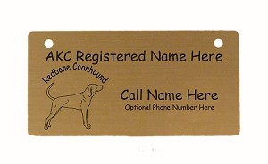 C3812 Redbone Coonhound Standing Crate Tag Personalized With Your Dog's Name