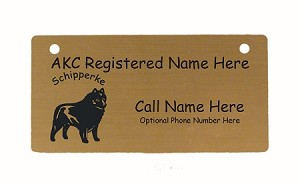 C3872 Schipperke Standing Crate Tag Personalized With Your Dog's Name
