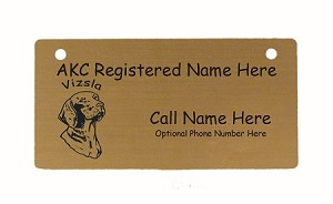 C4193 Vizsla Head Crate Tag Personalized With Your Dog's Name