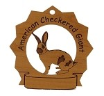 American Checkered Giant Rabbit Ornament Personalized with Your Rabbit's Name