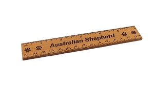 Australian Shepherd Dog 6 inch Alder Wood Ruler