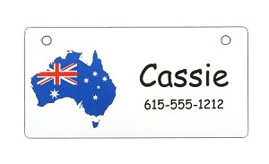 Australia with Flag Crate Tag Personalized With Your Dog's Name
