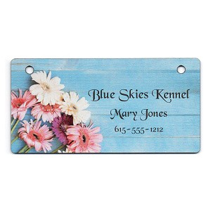 Blue Fence with Flowers Design Crate Tag Personalized With Your Dog's Name