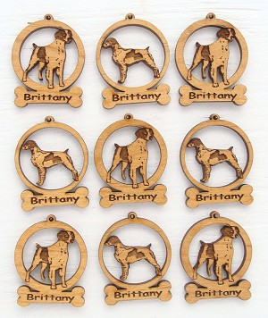 Brittany Dog Ornament Minis - Set of 9