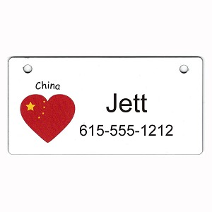 China Heart Flag Crate Tag Personalized With Your Dog's Name