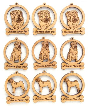 Chinese Shar Pei Dog Ornament Minis - Set of 9