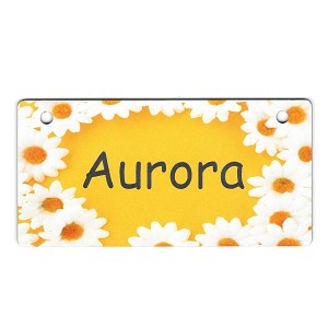 Daisies on Yellow Design Crate Tag Personalized With Your Dog's Name
