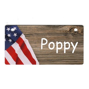 Flag on Wood Design Crate Tag Personalized With Your Dog's Name