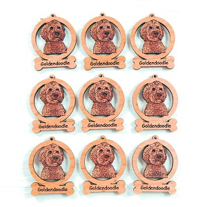 Goldendoodle Head Ornament Minis - Set of 9