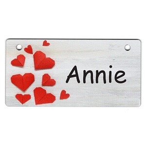 Hearts on White Wood Design Crate Tag Personalized With Your Dog's Name