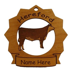 Hereford Cow Ornament Personalized with Your Cow's Name