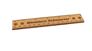 Miniature Schnauzer Dog 6 inch Alder Wood Ruler