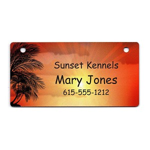 Sunset with Palm Tree Design Crate Tag Personalized With Your Dog's Name