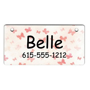 Pink Butterflies Design Crate Tag Personalized With Your Dog's Name