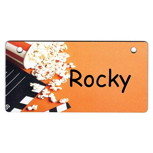Popcorn and Movie Sign Design Crate Tag Personalized With Your Dog's Name