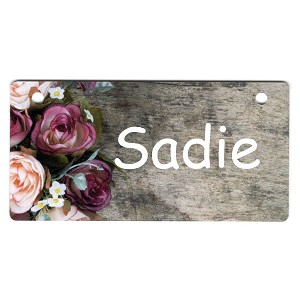 Roses on Dark Wood Design Crate Tag Personalized With Your Dog's Name