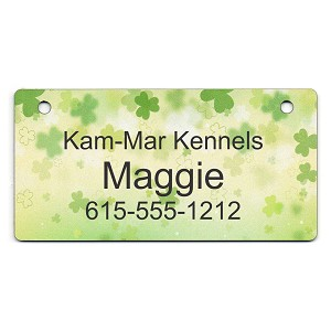 Scattered Clovers on Green Design Crate Tag Personalized With Your Dog's Name
