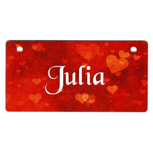 Scattered Hearts on Red Design Crate Tag Personalized With Your Dog's Name