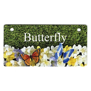 Spring Butterflies Design Crate Tag Personalized With Your Dog's Name