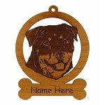 083836 Rottweiler Head #3 Ornament Personalized with Your Dog's Name
