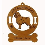 1015 Affenpinscher Standing Ornament Personalized with Your Dog's Name