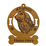 1052 Afghan Head Ornament Personalized With Your Dog's Name