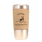 1089 Airedale Laying 20oz Polar Camel Tumbler with Lid Personalized with Your Dog's Name