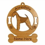 1091 Airedale Standing Ornament Personalized With Your Dog's Name