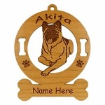 1128 Akita Down Ornament Personalized with Your Dog's Name