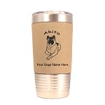 1128 Akita Laying 20oz Polar Camel Tumbler with Lid Personalized with Your Dog's Name