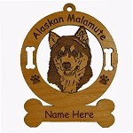 1181 Alaskan Malamute Head Ornament Personalized with Your Dog's Name