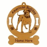 1183 American Bulldog Standing 2 Ornament Personalized with Your Dog's Name