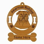 1185 American Bulldog Head Ornament Personalized with Your Dog's Name