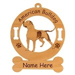 1187 American Bulldog Standing Ornament Personalized with Your Dog's Name