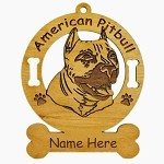 1193 American Pitbull Head Ornament Personalized with Your Dog's Name