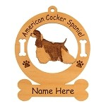 1198 American Cocker Spaniel Parti Standing Ornament Personalized with Your Dog's Name