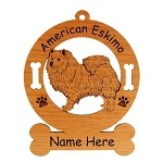 1220 American Eskimo Standing #3 Ornament Personalized with Your Dog's Name