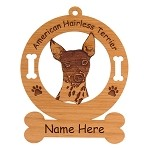 1243 American Hairless Head Ornament Personalized with Your Dog's Name