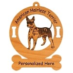 1245 American Hairless Terrier Standing Ornament Personalized with Your Dog's Name