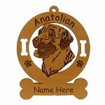 1281 Anatolian Head Ornament Personalized with Your Dog's Name